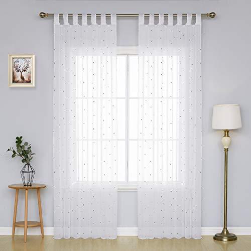 Deconovo Visillos Translúcidos Bordados para Salón o Dormitorio 2 Piezas 140 x 175 cm Gris Lunar