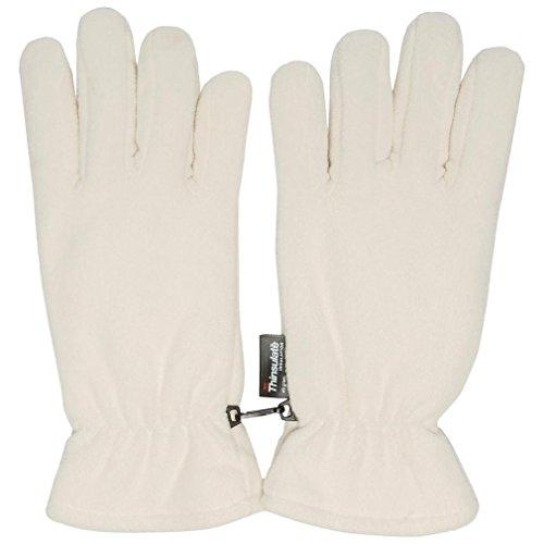 Peter Storm Thinsulate Doppel Fleece-Handschuhe, Weiß, S/M (Doppel-manschette-handschuhe)