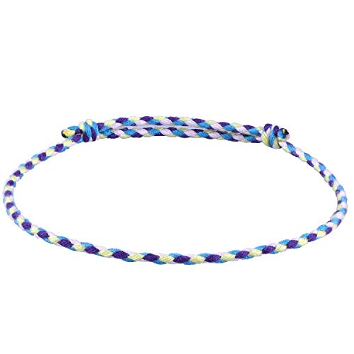 C.QUAN CHI Gewebte Strand Armband zum Frau String Sead Perlen Wachs Seil Geflochten Einstellbar Armband Handgefertigt (String Freundschaft Armband)