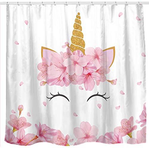 Cortinas ducha tela artística flores unicornio