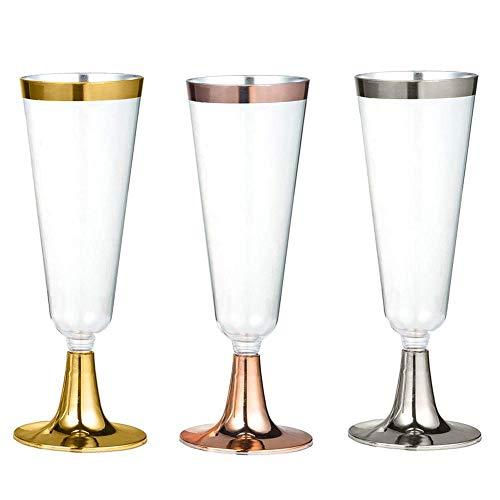 iBaste 6er Set 160 ml Plastik Weingläser Bruchsicher Kunststoff Transparent Einweg Weinkelche für...