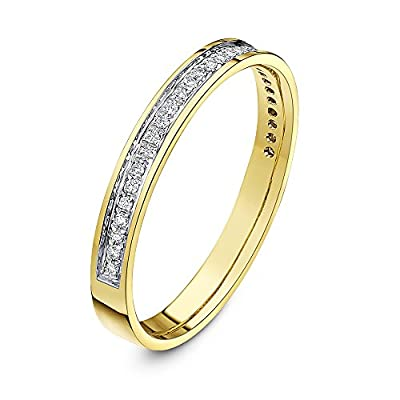 Theia 9 ct Yellow Gold Heavy Weight, Flat Court Shape, 3 mm, 0.15 Carat Diamond Pave Set Eternity Ring
