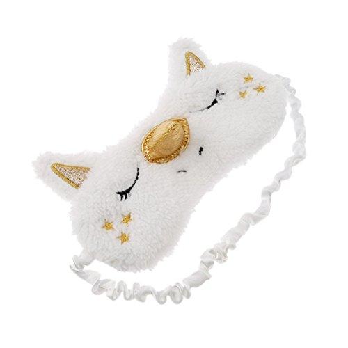 Gemini_mall® Fluffy Unicorn Sleeping Eye Shade Travel Eye Mask Shade Cover Sleep Mask (White)