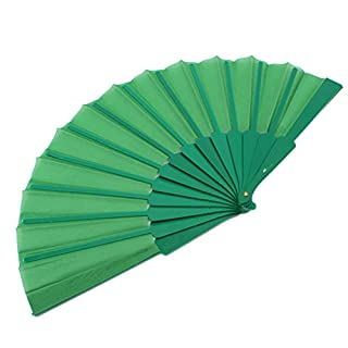 amazing-trading Herrlicher Handheld Fabric Folding Handfächer Hand Fan Gruen