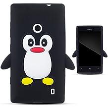Zooky® negro silicona pingüino FUNDA / CARCASA / COVER para Nokia Lumia 520