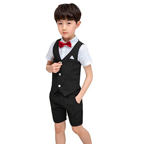 LOLANTA 4 STÜCKE Jungen Formelle Anzüge Kinder Hochzeit Weste Anzüge Baby Jungen Herren Outfit (Baby-ring-bearer-outfit)