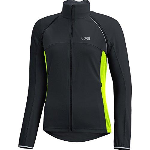 GORE Wear Damen Winddichte Fahrradjacke, Abnehmbare Ärmel, C3 Women GORE WINDSTOPPER Phantom Zip-Off Jacket, 42, Schwarz/Neon-Gelb, 100191