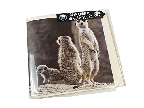 Image of Meerkat Greeting Card with SOUND. Meerkat noise plays when you open this card. Blank on the inside making it perfect for many occasions and a unique gift idea.