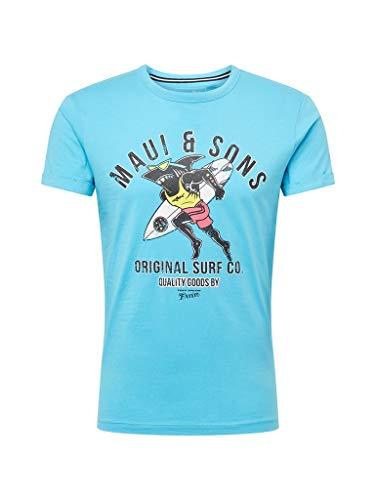 Denim-t-shirt Top (TOM TAILOR Denim T-Shirts/Tops Maui & Sons: T-Shirt mit Print Aqua Light Blue, XXL)