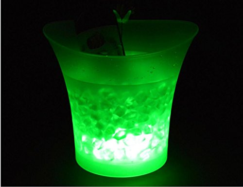 Da.Wa Seau à champagne LED Seau A Glace Glaçon Champagne Bouteille Lumineux LED Multicolore (green)