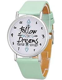 Follow Your Dreams Patron Relojes - SODIAL(R)Mujeres Follow Your Dreams Patron PU Relojes de Pulsera (Menta verde)