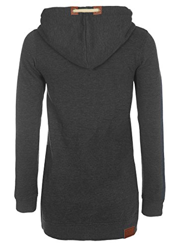 DESIRES Vicky Zip Hood Long - Sweater à capuche - Femme Dark Grey Melange (8288)