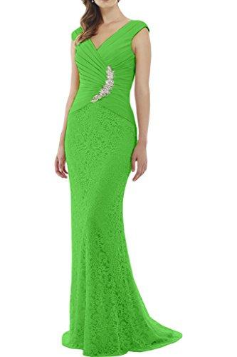 Gorgeous Bride Elegant V-Ausschnitt Etui Satin Spitze Lang Abendkleider  Cocktailkleid Ballkleider Grün