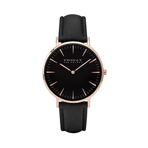 THE FRIDAY FIRDAY Damen Uhr Analog Quarz mit Leder Armband