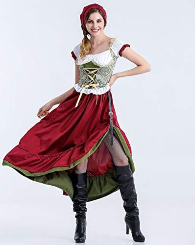 MBEN Bayerische Kurzarm Kellnerin, Deutsches Bierfest Kostüm Für Damen Kellnerin Cosplay Halloween Oktoberfest Biermädchen Kleines Kostüm,Long,XL