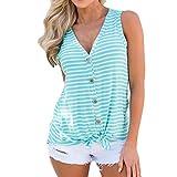 iYmitz DamenMode V-Ausschnitt Knopf Baumwolle Streifen Weste Mode ärmelloses T-Shirt(Grün,EU-44/CN-XL)