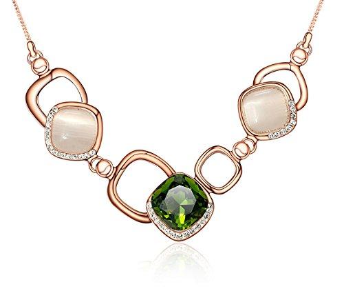 Aeici bigiotteria collana donna placcato oro piazza quadrato croce gemme verde lunghezza: 40+5.5cm