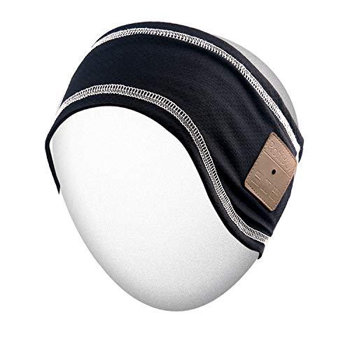 Rotibox Outdoor Bluetooth Stirnband mit Wireless-Kopfhörer Headset Kopfhörer Stereo-Lautsprecher Mikrofon Hände frei für Fitness-Studio Fitness Sport, kompatibel mit Iphone Android Handys - Schwarz Wireless Ipod Stereo