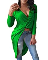 ZANZEA Women's Sexy Casual Summer Loose Wrap V Neck Hem Tail Long Sleeve Crop Tops T Shirt