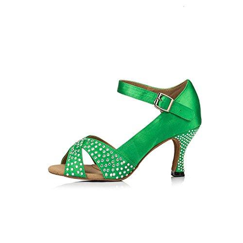 Minitoo évasée en Satin pour femme Talon piste Sandales-Samba-Cha Cha Chaussures de danse green