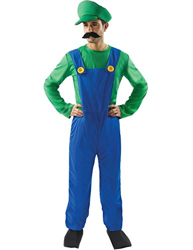Adult Mens Super Mario Bros Luigi Plumber Costume Fancy Dress XL