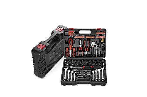 Werkzeugkoffer gefüllt mit Werkzeug Set   Schraubenschlüssel Set, Ratsche, Steckschlüsselsatz, Schrauberdreher, Bitset   Werkzeugkasten bestückt   Haushalt, Auto, Werkstatt ()