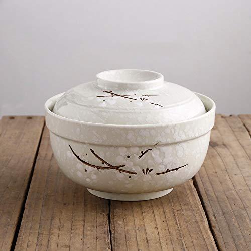 RKY Bol- Bol de nouilles instantanées de style japonais avec couvercle, grand ensemble en céramique pour étudiants /-/ (Couleur : Cyan)