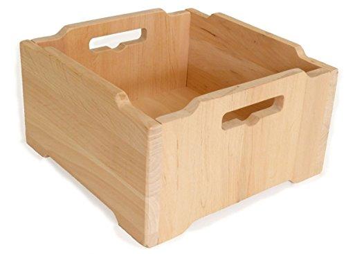 Kleine Bio-Naturholz-Kiste 'München' 6032 | Große Stapel-Ordnungsbox | Massivholzkiste / Kinder-Stapelbox | weitere Größen vorrätig | für Kindergarten / Kinderzimmer |