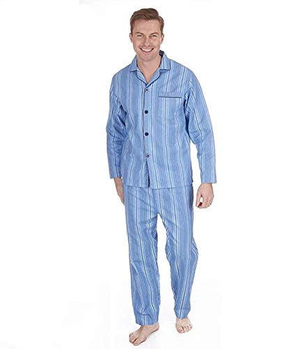 Herren Gebürstet Pure 100% Baumwollschlafanzug Winter Warm Flanell Thermo M L XL XXL - Blaue Streifen, XXXXX-Large - Streifen-flanell-pyjama
