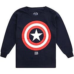 Marvel Captain America Shield Camiseta de Manga Larga, Azul (Navy NVY), 7-8 Años para Niños