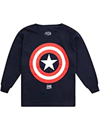 Marvel Boy's Captain America Shield Long Sleeve Top