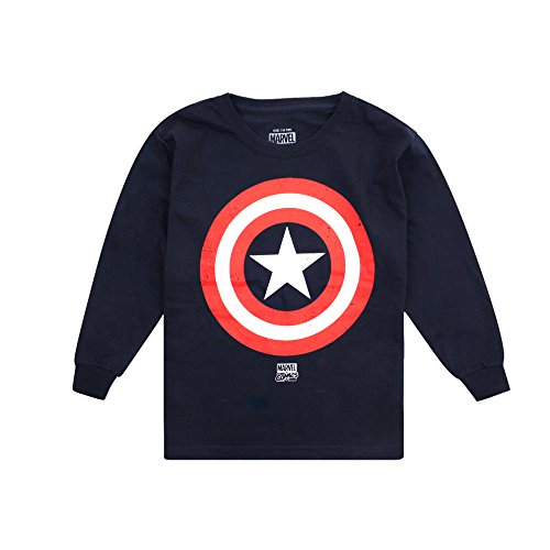 Marvel Captain America Shield, Camiseta de Manga Larga para Niñas, Azul (Marino),...