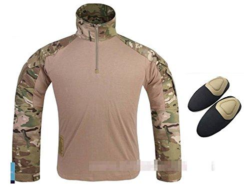 WorldShopping4U Tactical Army Military Shooting BDU Herren Gen3G3Combat Lange Ärmel Shirt mit Ellenbogenschoner für Airsoft Paintball Multicam MC, Multicam - Militärische Bdu Shirt