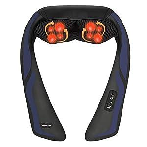 Nackenmassagegerät Shiatsu Massagegerät für Rücken Nacken Schulter – Massagekissen Elektrisch mit Wärmefunktion, 3D-Rotation Massage, 3 Einstellbaren Geschwindigkeiten für Hause Büro Auto