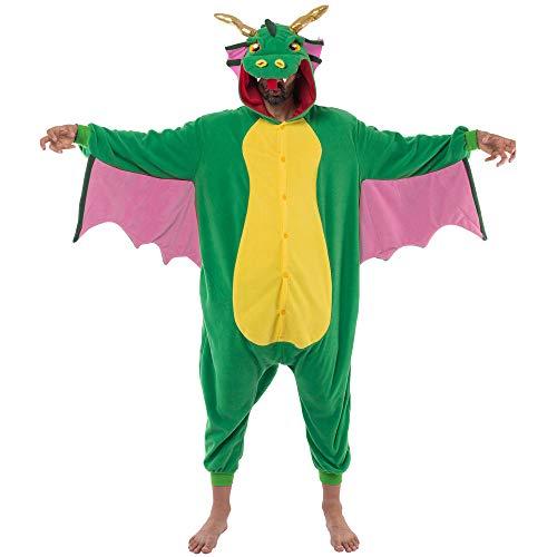 Spooktacular Creations Unisex Erwachsene Pyjama Jumpsuit, Plüsch Onesie Einteiler Drache Tier Kostüm, Cosplay Halloween Karneval (Large)