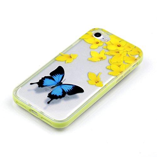 """MOONCASE iPhone 7 Coque, IMD Gel Souple TPU Case Fleur Motif Cover pour iPhone 7 4.7"""" Transparente Housse Antidérapant en Silicone Avec Absorption de Chocs [Butterflies Pattern] Blue Butterfly"""