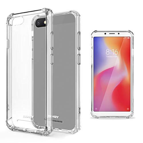 Moozy Funda Silicona Antigolpes para Xiaomi Redmi 6A - Transparente Crystal Clear TPU Case Cover Flexible