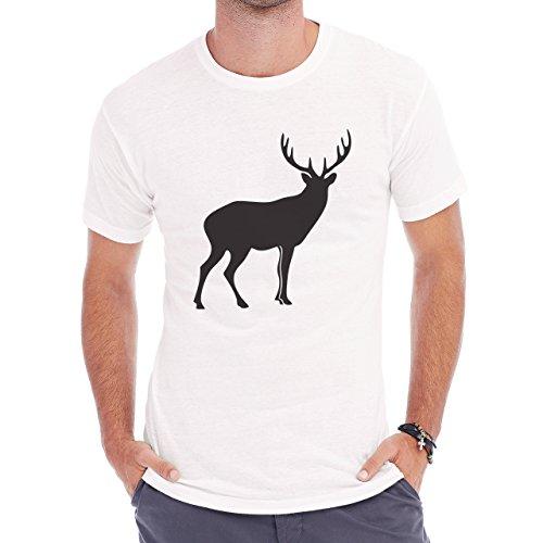 Deer Animal Wood Creature Horns Shadow Herren T-Shirt Weiß