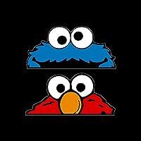 USSP&S Elmo & Cookie Monster Sticker 150x70mm - Vinyl Decal, Muppets, Sesame Street, Car, Van, Bumper