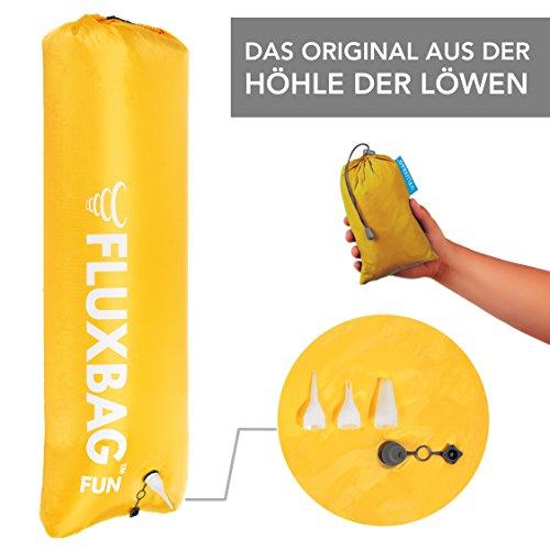 FLUXBAG FUN (100L) - Das Original aus der HÖHLE DER LÖWEN I 3 in 1: kleine, extrem schnelle LUFTPUMPE für Luftmatratze + wasserdichter PACKSACK für Wertsachen + aufblasbares STRANDKISSEN