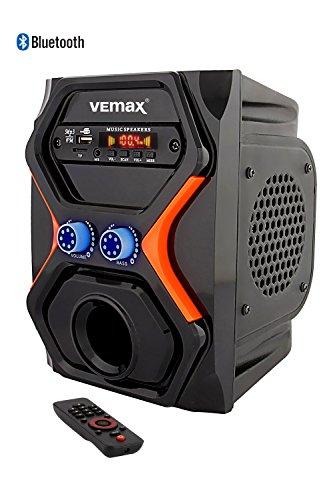 Vemax Jazz DOUBLE Speaker (Bluetooth/MP3/FM/USB/Mobile Aux/SD Card) Semi Portable Speakers (Black: Saffron)
