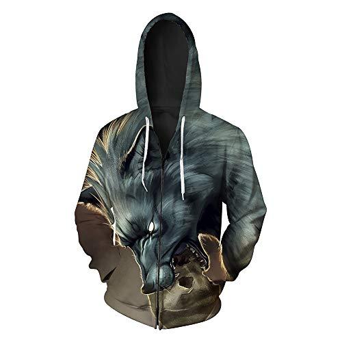 Hungrig Langarm (LeeQn 3D Druck Hoodie Kapuzenpullover Langarm Sweatshirt Kapuzenjacke Mit Taschen Reißverschluss-Hungriger Wolf L)