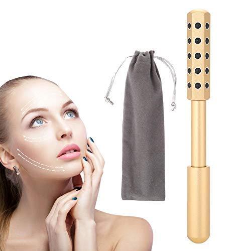 Gesicht Massager (Gesichts Beauty Bar Skincare Massager, 30 Germanium Facial Beauty Massag Roller, 3D Wasserdicht Face Lift Beauty Massagegerät, Gesicht Massage Werkzeug für Gesichts Anti Falten Pflege(Gold))