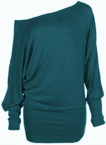 Hot Hanger Damen Top Schulterfrei Tunika Langarm Batwing Top Größe EU 36-52 : Color - Blaugrün : Size - 36-38 (SM) (Batwing Tunika Top)