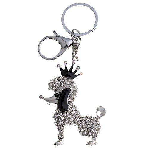 YAZILIND Llavero Corona Cachorro incrustado Rhinestone Girls Bolso Accesorios Colgante Ornamentos (Plata)