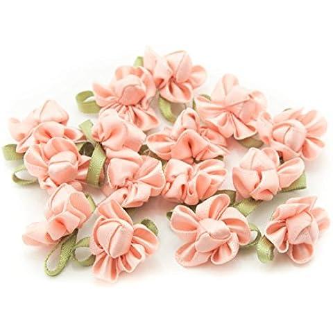 HAND H0683 Bastante arco de la cinta cose en el ajuste con la flor de la tela coloreada y Bud para la ropa del adorno de 23 mm x 18 mm Paquete de 20, Rosa de color salmón