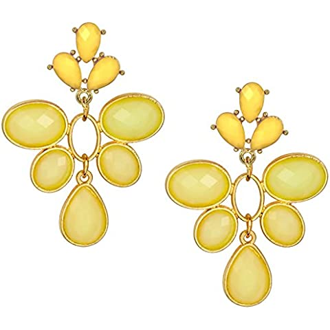 Oro Tono Amarillo Flor lágrima epoxi Cluster Dangle Pendientes de declaración, 23/8