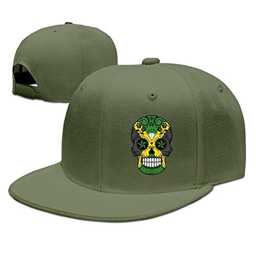 Jamaican Flag Sugar Skull Flat Brim Adjustable Snapback Hats Baseball (Hüte Jamaican)