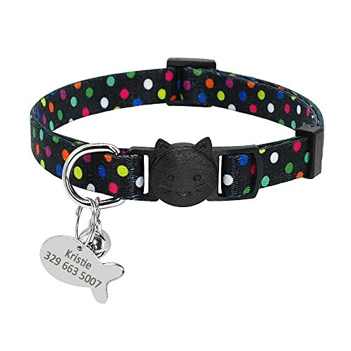XIAOLANGTIAN Halsband für Welpen, Kätzchen, Katzen, Glöckchen, mit personalisierbarem Haustier-ID-Tag für kleine Katzen, Hunde, Punkt-Blumen-Halsband, Namens-Halskette