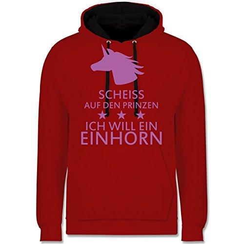 Einhörner - Einhorn - Scheiss auf den Prinzen ich will ein Einhorn - Kontrast Hoodie Rot/Schwarz